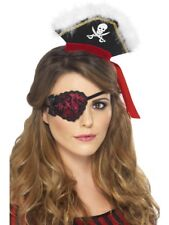 Pirate Eyepatch Red With Black Lace and Ties. Smiffys.