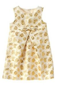 Gymboree Savanna Party Metallic Gold Rose Jacquard Christmas Dress 6 7 8 10 12
