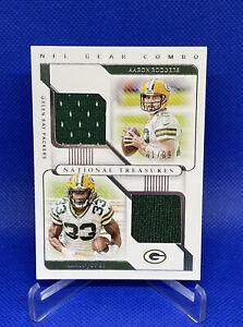 2020 National Treasures Aaron Rodgers Aaron Jones NFL Gear Combo Dual Patch /99