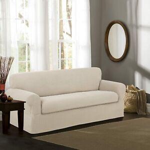 "Maytex Smart Cover 2 piece Stretch Sofa Slipcover  Fits 74"" to 96"" Sofas  CREAM"