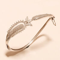 Russian White Topaz 925 Sterling Silver Bangle Bracelet Engagement Jewelry Gifts