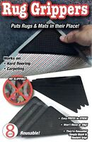 8 RUG GRIPPERS CARPET MAT RUGGIES NON SLIP SKID REUSABLE WASHABLE Black As Seen
