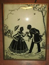 Antique reverse painted convex bubble glass framed silhouette pictures 6 x 8