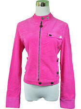 VERSACE Ladies Vtg Pink Cord Stretch Casual Sexy Biker Jacket Coat sz S 10 W87