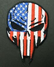 USA Flag Skull Punisher Biker Embroidered Patch 3.6 x 2.25 inches