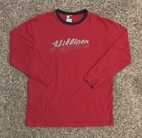 VTG Tommy Hilfiger Mens L/S T-Shirt Large Red 100% Cotton Spellout Logo EUC