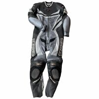 Teknic 1 Piece Black Leather Motorcycle Racing suit 42/52 Vented Perforated puck