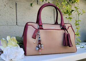Coach 25807 Legacy haley 2 tone leather barrel duffle satchel handbag purse bag