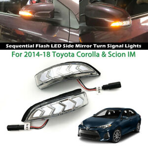 Sequential Rear Mirror LED Side Turn Signal For Toyota Corolla,Scion IM 2014-18