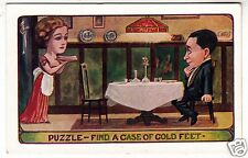 PUZZLE - Find A Case Of Cold Feet - c1900s era postcard