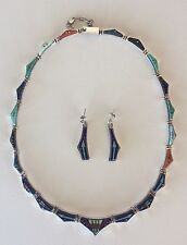 Navajo CALVIN BEGAY Sterling Silver Lapis, Turquois Inlay Necklace w/ Earrings