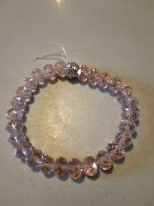 Pink Clear Bead Elastic Bracelet. 🧡 (2). New