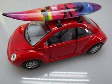 "Collectible Die Cast RED Volkswagen ""NEW BEETLE"" VW 1:32 Scale SURFBOARD"
