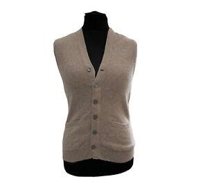 Cashmere Vest Waistcoat Snow Lotus Vintage V neck Beige long sleeve Size 12