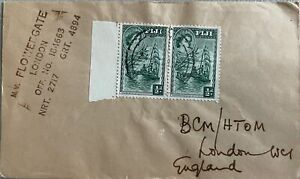 1958 Fiji #147(2) w ship M/V Flowergate marking on cover; boat, ship topical *d