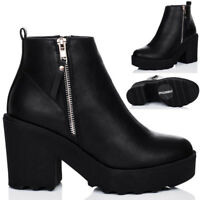 WOMENS PLATFORM CLEATED SOLE BLOCK HEEL ANKLE BOOTS SHOES SZ 3-8