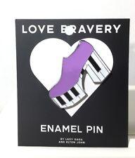 """LOVE BRAVERY Gaga Elton John """"LADY GAGA"""" Purple Platform Enamel Shoe Pin"""