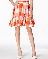 Maison Jules Gingham Flare Skirt Rave Red Orange White NWT size Large