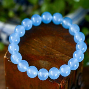 8mm Light Blue Chalcedony Stretch Bracelet 7.5 Inches Meditation Buddhism