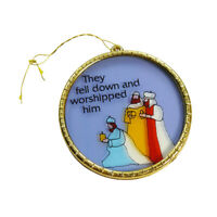 Religious Christmas 3 Wise Men Faux Stained Glass Round Holiday Hanging Ornament