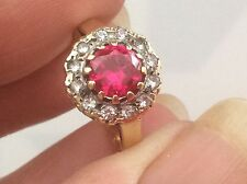 BEAUTIFUL 9ct VINTAGE/DECO RUBY AND PASTE RING.