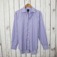 David Donahue Trim Fit Men's Dress Shirt Purple striped Sz 17 34/35 100% Cotton
