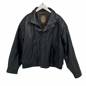 Members Only 100% Leather Heavyweight Bomber Jacket Vintage Black Mens Size XL