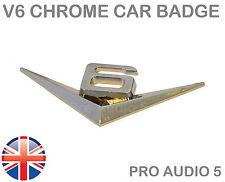 V6 Chrome Car Badge - Metal - UNIVERSAL Wing Boot Body Badge - Car Van - UK Post