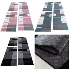 Bettumrandung Läufer Teppich Konturenschnitt Kariert Linien Muster Läuferset