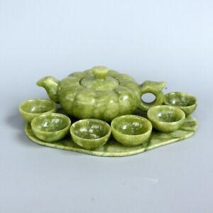 Chinese Traditional Natural Handmade Jade Teapot Carving Gong Fu Tea Cup Set