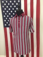 vtg Red Vertical Striped Mardi Gras Polo Shirt men's LARGE soft thin golf 1a622
