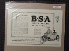 "1920 BSA Birmingham Small Arms Motor Bicycles Print Ad FN+ 6.5 10x7"" Motorcycle"