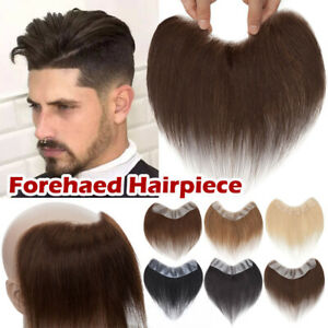 Men Toupee Wig Human Hair Replacement System Forehead Hairline PU Skin Hairpiece