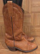 VTG🔥 FRYE Cowboy Western Boots Stitched 80's Hipster Saddle Tan White Label 8.5