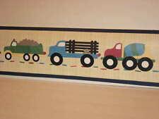 Oshkosh Wallpaper Border Truck Stop Dog Puppy Transportation Vehicles 10 Yds