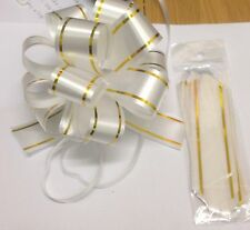 5 X INSTANT PULL BOWS - 30mm - WHITE WITH GOLD EDGE
