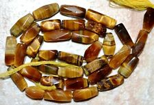 "Tiger Eye 11-8mm x 4-5mm Faceted Baguette Gemstone Beads 14"" str- Gorgeous"