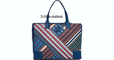 NWT Tory Burch Quilted Blanket Multi Striped Ella Tote Large Bag NEW