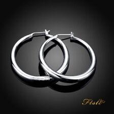 Women's 925 Sterling Silver Filled Big Round Large Hoop Sleeper Earrings