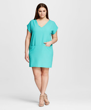NEW Women's Plus Size The Vanity Room Shift Teal with Slit Pocket Dress Size 2X