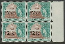 Basutoland 1961 12½c on 1/3d Type I in block of four Mnh.