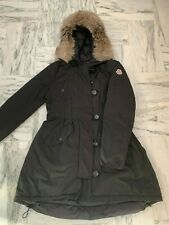 Moncler Black Parka Down Jacket Coat,Fox Fur Hood, Size 3,Very good condition