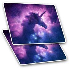2 x Rectangle Stickers 10 cm - Unicorn Nebula Purple Star #14344