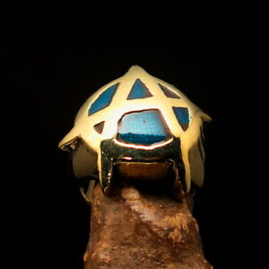 Nicely crafted Men's Brass Punk Costume Ring A Anarchy Symbol Blue