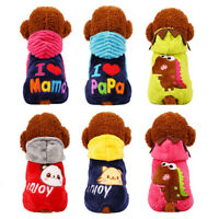 Warm Fleece Cat Dog Costume Pajamas Winter Small Pet Clothes Jumpsuit Puppy Coat
