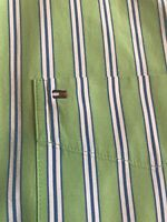 Tommy Hilfiger Shirt Men's XL  Long Sleeve Green With White & Blue Striped