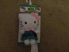 "Hello Kitty- 1 Clip On Plush 4"" Keychain Purse Stuffed Doll Green Dress-NIP"