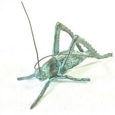 Brass Metal Cricket Grasshopper Figurine Articulating Antennae Green Patina Vtg