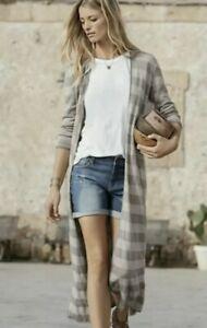 Garnet Hill 100% Linen Knit Long Striped Duster Cardigan Sweater L Large Beige