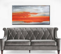 48x24 Abstract Art - Painting Orange and Gray - US Artist